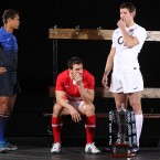 Thierry Dusautoir, Wales captain Sam Warburton and Tom Wood of England. 