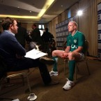 RTE's Damien O'Meara speaks to Ireland captain Paul O'Connell. 