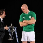 O'Connell seems reluctant to touch the cup. 