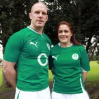 Ireland men's rugby captain Paul O'Connell with women's counterpart Fiona Coughlan.
