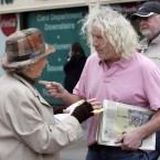 Mick Wallace TD talking with Mary Lynskey from Co. Mayo 