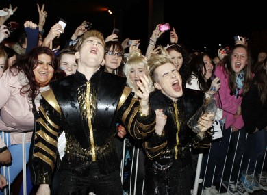 Jedward celebrate with their fans outside RT studios in Donnybrook last night