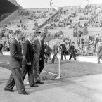 Matt Busby leaves the Wembley pitch after his side lose to Bolton Wanderers in the FA Cup final, months after the crash.