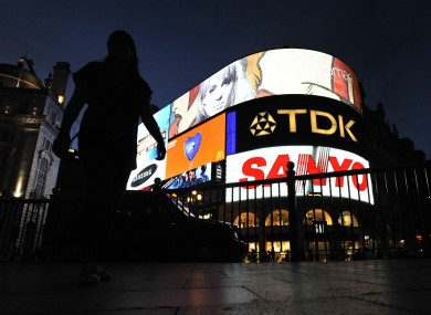 General view of adverts at Piccadilly Circus in London.
