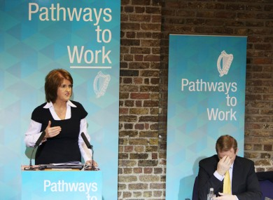 Joan Burton and Enda Kenny launching Pathways to Work today
