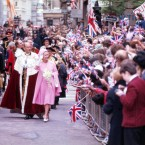 The Queen Elizabeth receives congratulations from wellwishers during a brief walkabout in London on June 7, 1977 - the day after her formal jubilee.