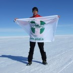 Galway ultra-marathon runner, Richard Donovan, in Antarctica, Wednesday, February 1st, where he completed the first leg of his World Marathon Challenge for GOAL.