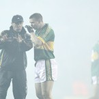 Kerry manager Jack O'Connor speaks to Tomás Ó Sé as the smoke settles before Dublin v Kerry in Croke Park last Saturday.
