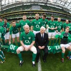 IRFU President John Hussey joins the Irish rugby team for a team photo ahead of last Sunday's Six Nations opener against Wales.