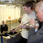 Giovanni Trapattoni tries his hand at blowing glass during a visit to the House of Waterford Crystal on Friday.