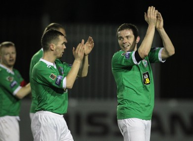 Cliftonville players salute their fans after last night's win against St Patrick's Athletic.