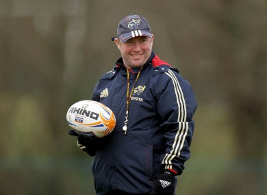 Munster coach Tony McGahan at squad training at Cork IT yesterday.