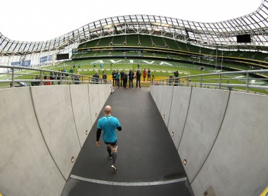 Paul O'Connell walks out at the Aviva Stadium yesterday.