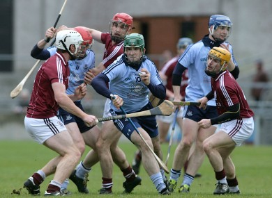 Dublin's Conor McCormack crowded out at Pearse stadium yesterday