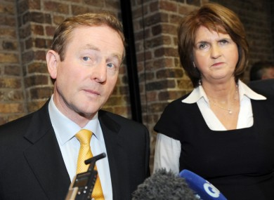 Taoiseach Enda Kenny and Social Protection Minister Joan Burton at the launch of Pathways to Work yesterday 