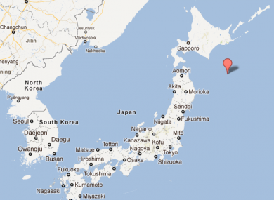 The epicentre of today's quake, around 100 miles off the coast of Japan.