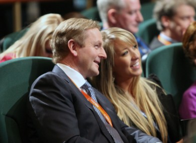 Enda Kenny shares a joke with an attendee at the Fine Gael rd-Fheis earlier today.
