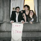 Trinity College Dublin students showing their support. Photo: Mark Stedman/Photocall Ireland
