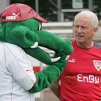 Chatting with Stuttgart's mascot, the unfortunately named 'Fritzle', during his time there.