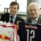 He poses with Lothar Matthaeus after being announced as the new boss of Red Bull Salzburg.