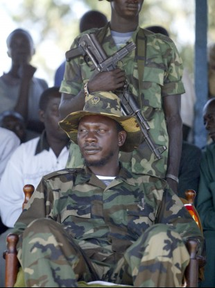 Lubanga pictured at a rally for his rebel group in 2003.