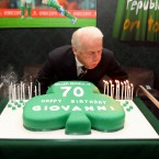 Blowing out the candles on his 70th a couple of years back. Surely it's missing a couple?