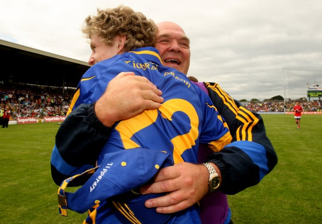 Tipperary director of football John Evans celebrates with Jason Lonergan