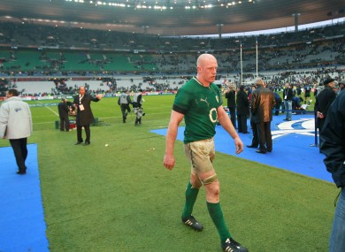 Not mad, just disappointed. Paul O'Connell leaves the pitch at Stade de France.
