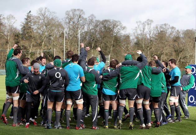 The Ireland team all share a joke before training