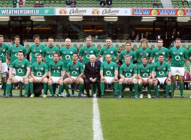 The Irish team at the Aviva Stadium before the Scotland game.