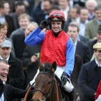 Ruby Walsh salutes the crowd after Quevega won the OLBG Mares' Hurdle. 