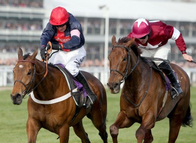Bobs Worth ridden by Barry Geraghty (left) beats First Lieutenant ridden by Davy Russell to win the RSA Chase