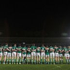 The Ireland U20 rugby team stand for the national anthem ahead  of Friday's Six Nations game against England. Ireland lost 20-9, missing out on a Grand Slam.