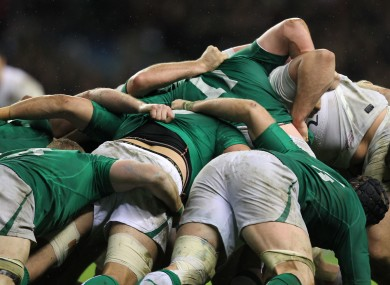 The Irish scrum in action against England on Saturday.
