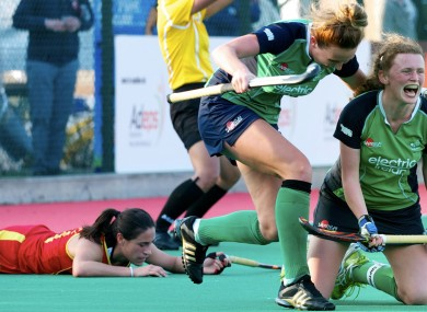 Ireland captain Alexandra Speers celebrates scoring the third goal.