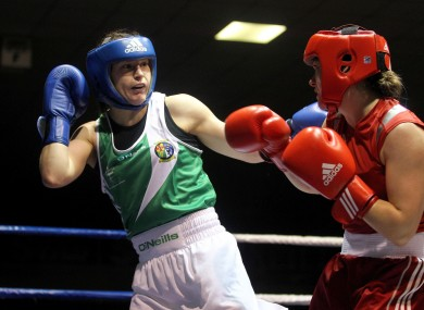 Katie Taylor, left, in action against Jessica Belder of Holland.