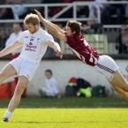In flight: Kevin Maguire of Westmeath dives to block Kildare's Tomas O'Connor.