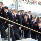 Melbourne Demons AFL players arrive for the state funeral. (Photo by Craig Borrow-Pool/Getty Images)