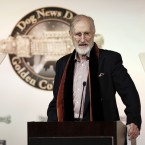 Actor James Cromwell from the film speaks at the first annual Golden Collar Awards in Los Angeles. The Golden Collar awards recognise the work of dogs in film and television (he was accepting it for the dog in The Artist). (Matt Sayles/AP/Press Association Images)