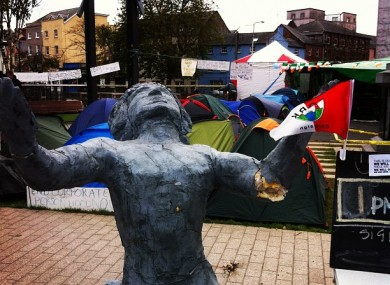 The camp at Occupy Cork last October