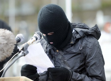The masked man claiming to be a Real IRA representative at yesterday's event