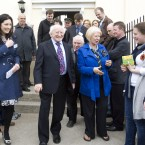 President Michael D Higgins outside the new homes in Inchicore, Dublin, which have been renovated by Habitat for Humanity Ireland in partnership with Dublin City Council. Two families are to take up residence of the Victorian houses on Emmet Road in Inchicore. Their new homes will have three bedrooms and the basement of each home will comprise a separate one bed apartment. Photo Eamonn Farrell/Photocall Ireland