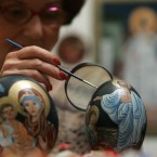 Marija Jozanov paints incredibly Orthodox icons on ostrich eggs, as she decorates them for Easter in Novi Sad, 80 km north of Belgrade. Orthodox Serbs celebrate Easter according to Julian calendar. (AP Photo/Srdjan Ilic)