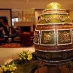 Talk about the ultimate in luxury - a chocolate egg based on the famous Imperial Napoleonic Faberge egg, made by the Grosvenor Hotel's pastry chef Beate Woellstein.