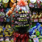 Delicious large Easter eggs on display in a shop window in Venice, Italy.