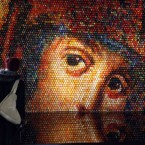 An image of the Holy Mother made of Easter eggs in the St Sophia Cathedral in Kiev, Ukraine in 2010. About 15 thousand eggs hand-painted in traditional Ukrainian style were used by Ukrainian artist Oksana Mas during creation of the composition. (AP Photo/Efrem Lukatsky)