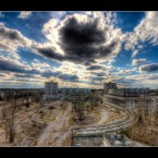 Lenin Square as seen from Hotel Polissya in the ghost city of Pripyat near Chernobyl.
