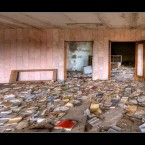 A floor full of books at the old Pripyat library. 
