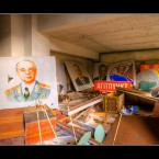 Political posters, backstage of the Palace of Culture in the ghost town of Pripyat near Chernobyl.