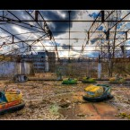 Bumper cars in the ghost town of Pripyat near Chernobyl.
